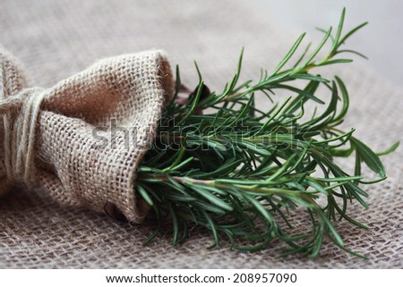 Rosemary bunch nestled inside a burlap bag tied with twine. - stock photo