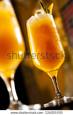 Rosemary Cocktail - Golden Rum, Rosemary, Fruits Juice and Syrup - stock photo