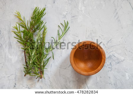 rosemary on a table, selective focus, the top view