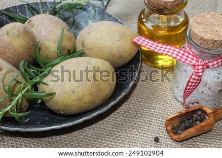 rosemary potatoes - stock photo