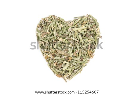 Rosemary (Rosmarinus officinalis) isolated in heart shape on white background. Used as a spice in cuisines all over the world. The plant is also used in medicine.