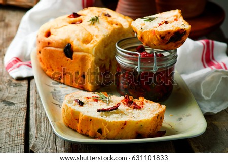 Rosemary Tomato Parmesan Bread Baked In The Bread Machine Style Rustic Selective Focus