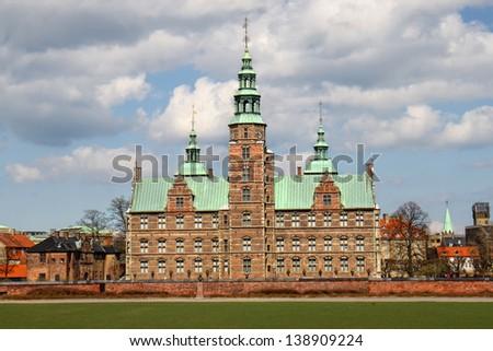 Rosenborg castle as one of most beautiful buildings in Copenhagen, Denmark - stock photo