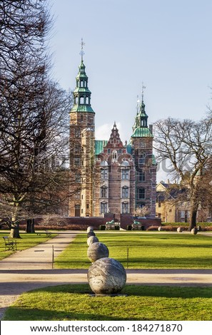 Rosenborg palace is a renaissance castle located in Copenhagen, Denmark. The castle was originally built as a country summerhouse in 1606 - stock photo