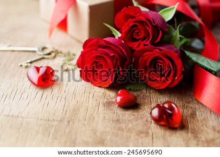Roses and a red hearts, Valentines Day background, wedding day - stock photo