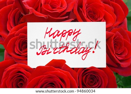 Roses and card Happy birthday - holiday background - stock photo