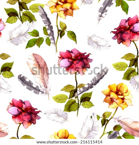 Roses and feathers. Seamless pattern. Watercolor - stock photo