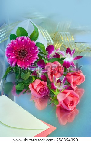 Roses and gerbera flowers bouquet - stock photo