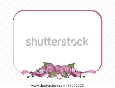 Roses and Ribbons Special Occasion announcement or invitation. - stock photo