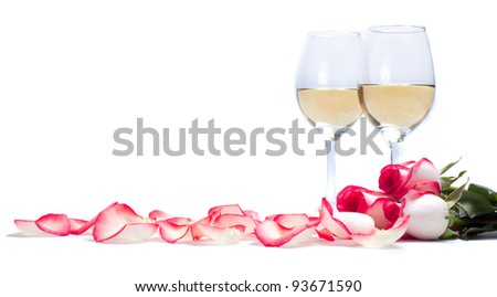 Roses and white wine - stock photo