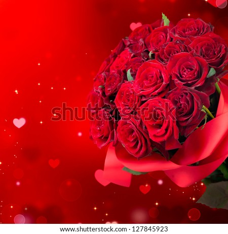 Roses Bouquet And Hearts Background Valentine Or Wedding Card Red Valentines Day Design