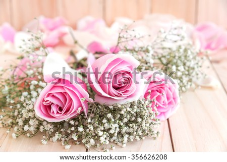 roses for lover with copy space, beautiful flower, love concept for valentines day, wedding, anniversary, congratulation and birthday - stock photo