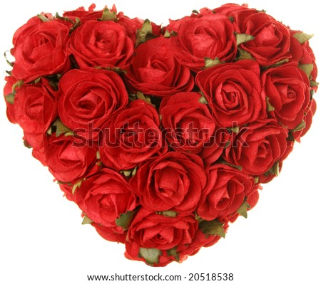Roses in the shape of a heart. Love, romance, Valentine's day concept.