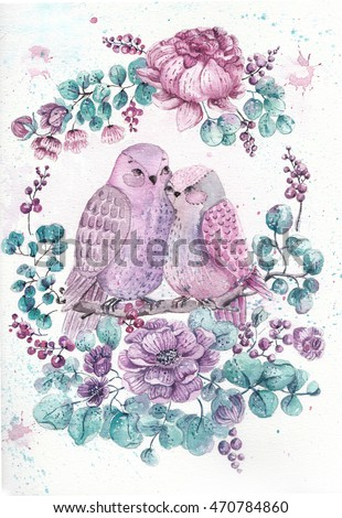 Roses, leaves and bird. Watercolor illustration over white background for design