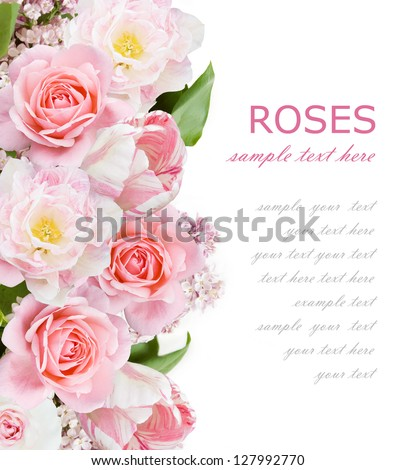 Roses, lilac flowers and tulips background isolated on white with sample text - stock photo