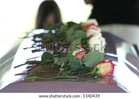 Roses on Casket - stock photo