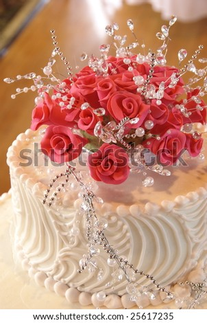 Roses on Wedding Cake - stock photo