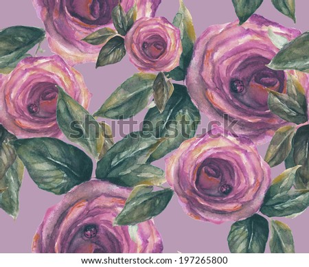Roses seamless Pattern . Watercolor illustration.  - stock photo