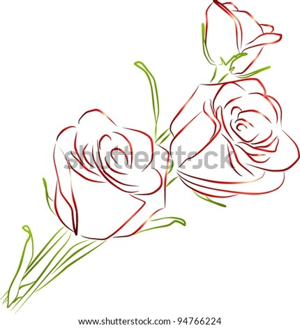 roses silhouette - white background - stock photo