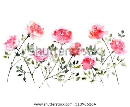 Roses. Watercolor floral bouquet. Floral background. Birthday card. - stock photo