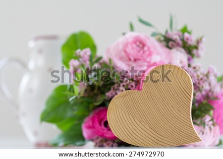 Roses with heart - stock photo