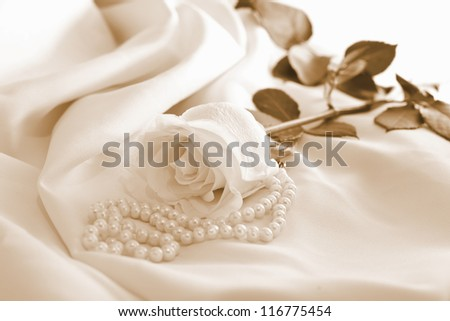 Roses with pearls in warm colors - stock photo