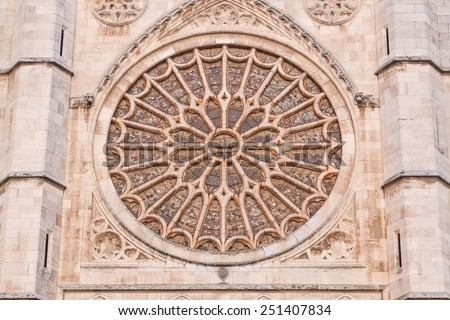 Rosette of the Cathedral of Leon, Spain. - stock photo