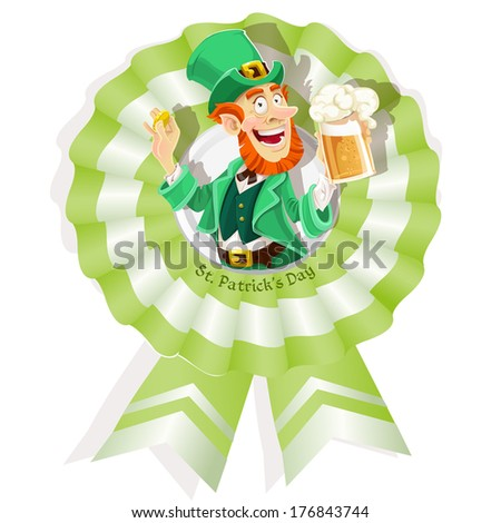 Rosette on St. Patrick's Day with Leprechaun with beer - stock photo