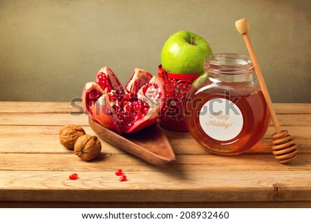 Rosh Hashanah table arrangement. Jewish New Year Holiday. - stock photo