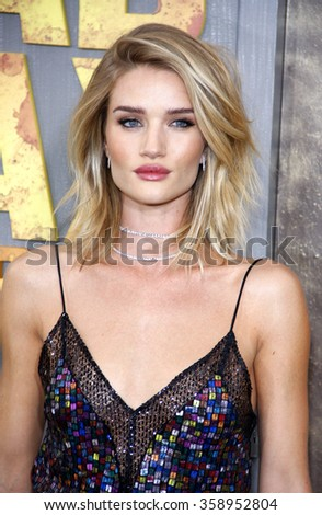 "Rosie Huntington-Whiteley at the Los Angeles premiere of ""Mad Max: Fury Road"" held at the TCL Chinese Theatre IMAX in Los Angeles, USA on May 7, 2015. - stock photo"