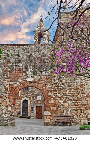 Rosignano Marittimo, Leghorn, Tuscany, Italy: old alley and stone wall with the entrance door to the courtyard of the medieval castle and church