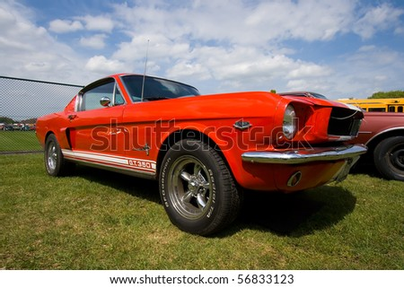 ROSMALEN, THE NETHERLANDS - MAY 16: 1965 Ford Mustang on the Rock Around the Jukebox Open Air event on May 16, 2010 in Autotron Rosmalen. - stock photo
