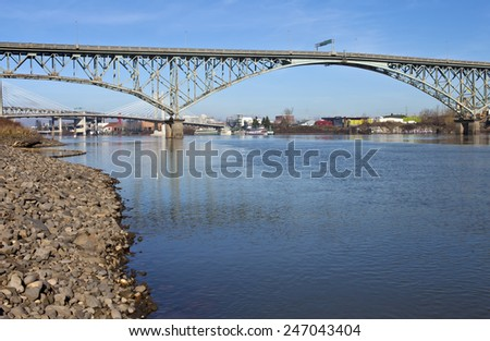 Ross Island bridge and Willamette river Portland Oregon. - stock photo