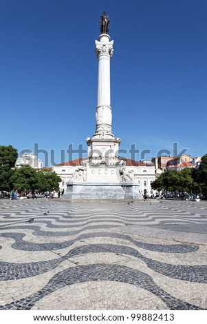 Rossio Square in Lisbon, with the Pedro King statue