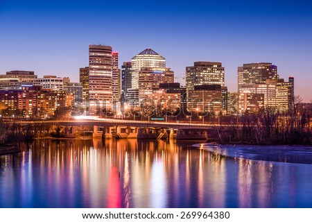Rosslyn, Arlington, Virginia, USA skyline on the Potomac River. - stock photo