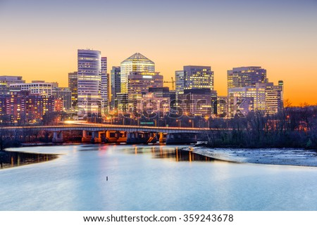 Rosslyn, Arlington, Virginia, USA skyline on the Potomac River. - stock photo