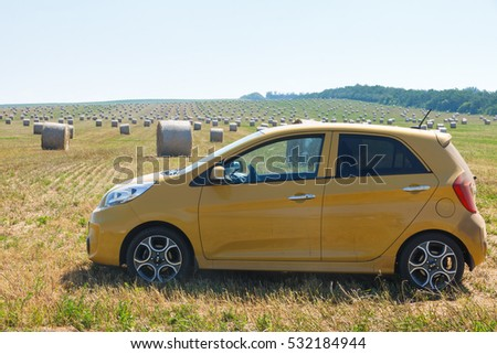 ROSTOV OBLAST, RUSSIA, JULY 3, 2016: Kia Picanto test-drive in countryside off-road