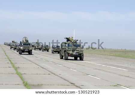 ROSTOV-ON-DON, RUSSIA - APRIL 17: Preparation for Victory Parade in front of celebrate the 67th anniversary of Victory Day (WWII), April 17, 2012 in Rostov-on-Don, Russia