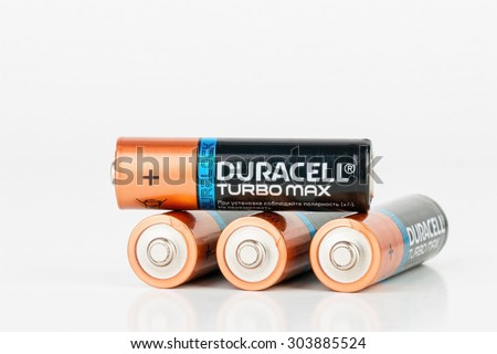 Rostov - on - Don, Russia - July 30, 2015: Duracell Turbo Max alkaline AA battery. - stock photo
