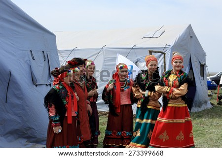 "ROSTOV REGION, RUSSIA - APRIL 18: International Festival of ecological tourism ""Celebrated steppe"" in Rostov region, Russia. April 18, 2015.  - stock photo"