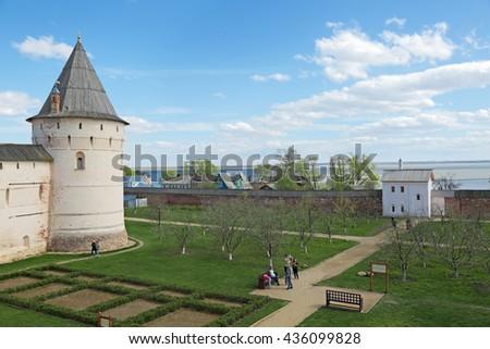 ROSTOV, YAROSLAVL OBLAST, RUSSIA - MAY 02, 2014: Rostov Kremlin (Golden Ring). View of lake Nero and the tower of the Rostov Kremlin - stock photo