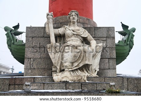 Rostral columns on the embankment - stock photo