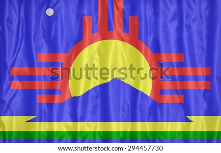 Roswell ,New Mexico flag pattern on fabric texture,retro vintage style - stock photo