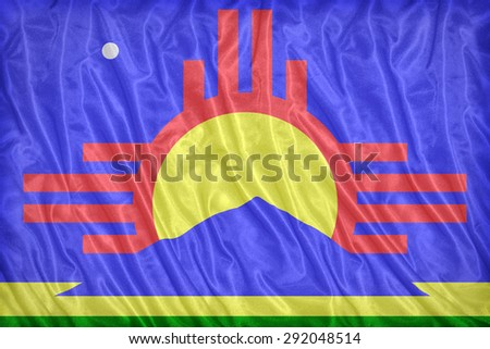 Roswell ,New Mexico flag pattern on the fabric texture ,vintage style - stock photo