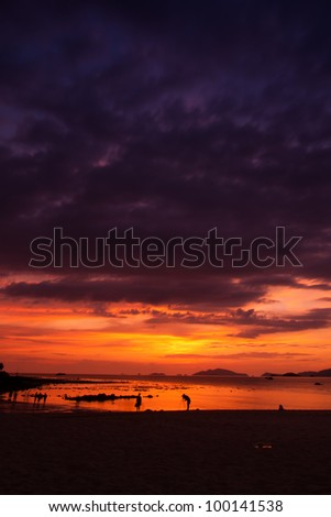 rosy clouds just before sunset - stock photo