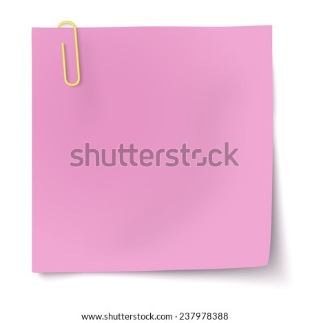 Rosy sticky note with yellow paper clip isolated on white background. Raster version illustration. - stock photo