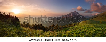 Roszutec peak in sunset - Slovakia mountain Fatra - stock photo