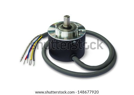 Rotary encoder, isolated on white background with clipping path - stock photo