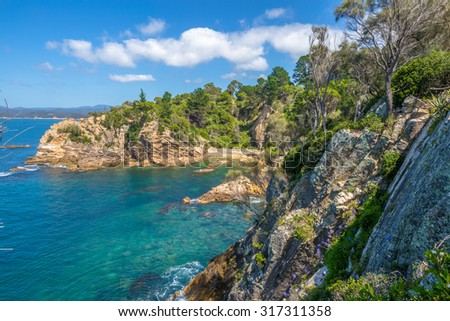 Rotary Park lookout: the cliffs of the spectacular Eden in the sapphire coast, on Twofold Bay, is a coastal town in the South Coast region of New South Wales, Australia. - stock photo
