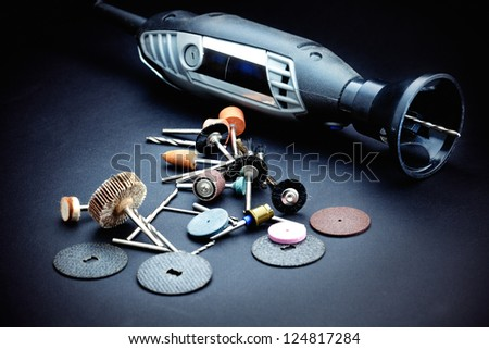 Rotary tools with accessory - stock photo